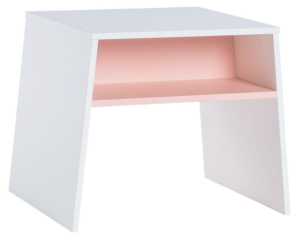 Kindertisch Irlin 02, Farbe: Weiß / Rosa - Abmessungen: 49 x 60 x 50 cm (H x B x T)