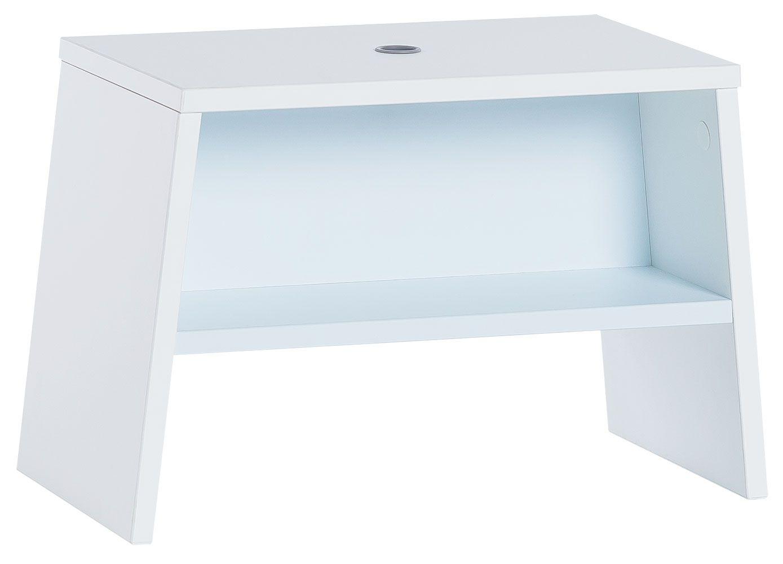 Kinderhocker Irlin 04, Farbe: Weiß / Blau - Abmessungen: 31 x 46 x 25 cm (H x B x T)