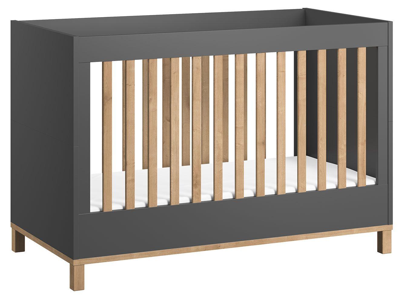 Babybett / Gitterbett Lijan 02, Farbe: Grau / Eiche - Liegefläche: 70 x 140 cm (B x L)