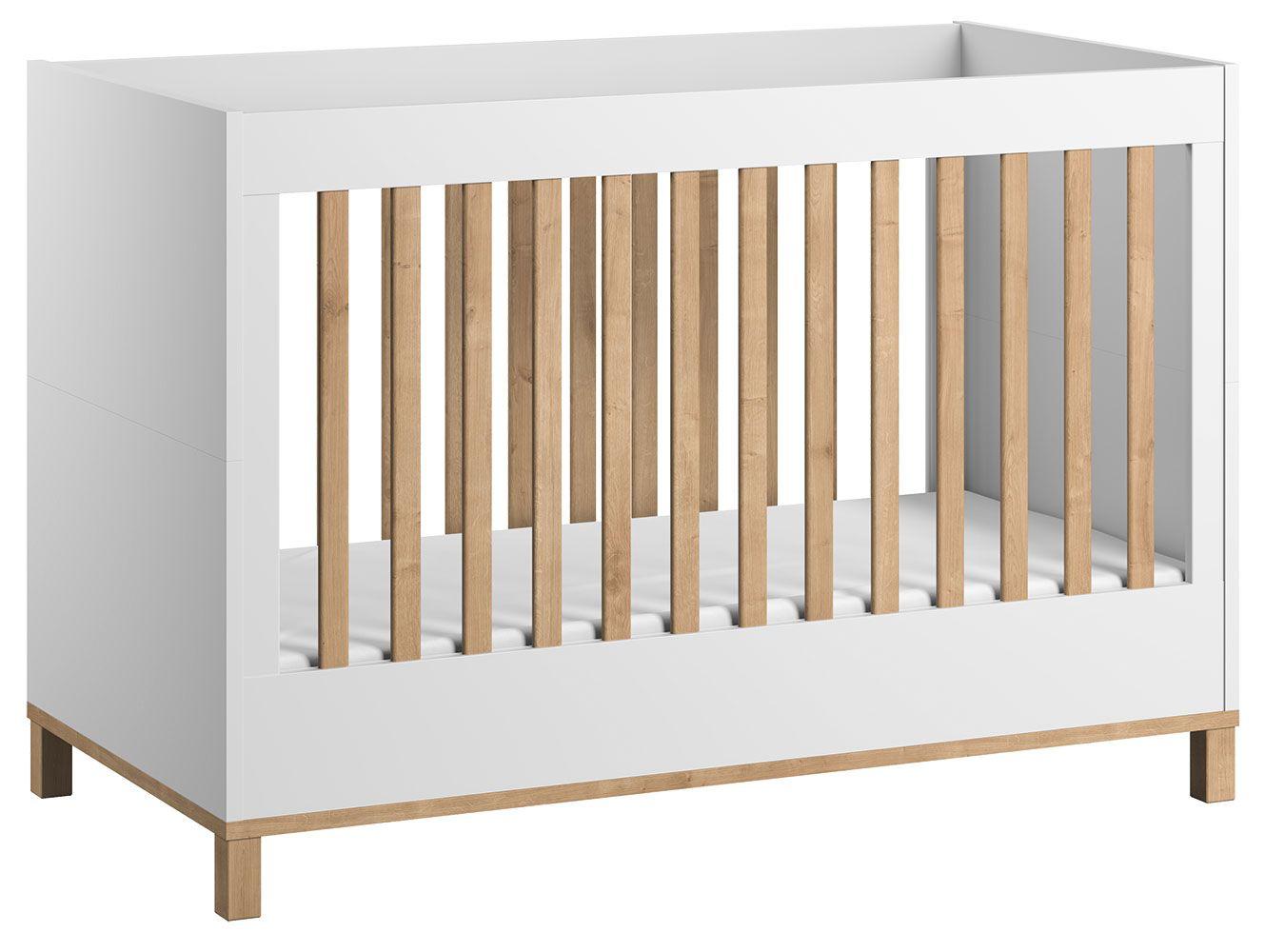 Babybett / Gitterbett Lijan 05, Farbe: Weiß / Eiche - Liegefläche: 60 x 120 cm (B x L)
