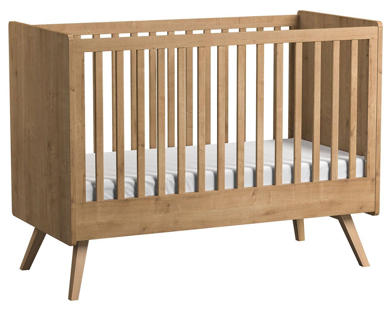 Babybett / Gitterbett Jorinde 02, Farbe: Eiche - Liegefläche: 70 x 140 cm (B x L)