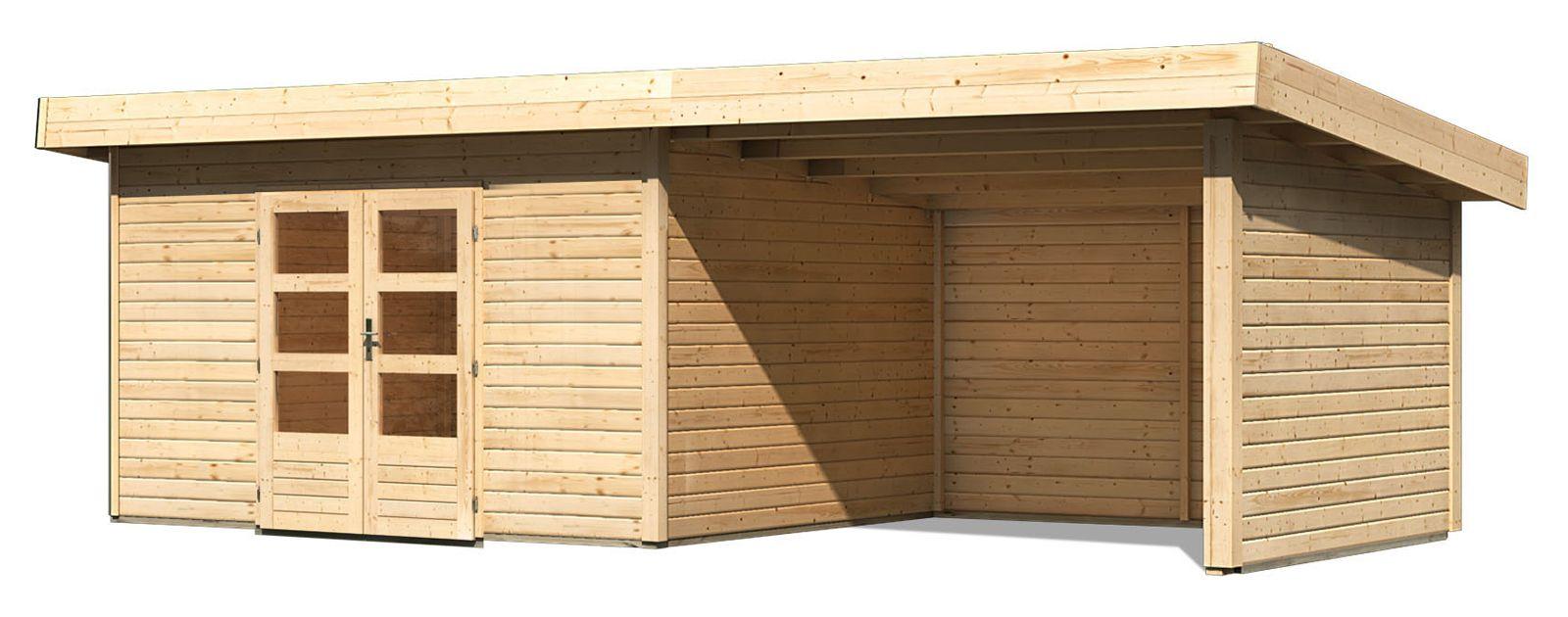 Gartenhaus Achensee 4 mit Anbaudach 3,30 m Breite und Seiten / Rückwand, naturbelassen, 38 mm Wandstärke - 6,64 x 3,09 x 2,48 m (B x T x H)