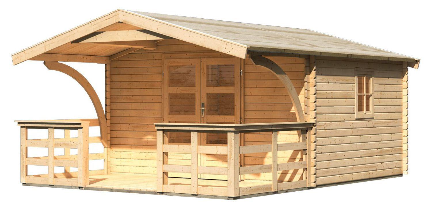 Gartenhaus Drau 5 mit Vordach 1,80 m Tiefe und Terrasse, naturbelassen, 38 mm Wandstärke - 3,87 x 4,76 x 2,42 m (B x T x H)