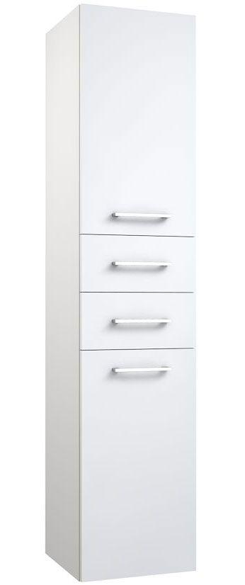 Badezimmer - Hochschrank Rajkot 74, Farbe: Weiß glänzend – 160 x 35 x 35 cm (H x B x T)