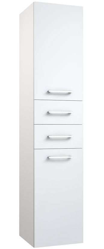 Badezimmer - Hochschrank Rajkot 75, Farbe: Weiß matt - 160 x 35 x 35 cm (H x B x T)