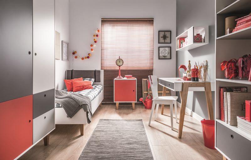 Jugendzimmer Komplett - Set D Syrina, 7-teilig, Farbe: Weiß / Grau / Rot