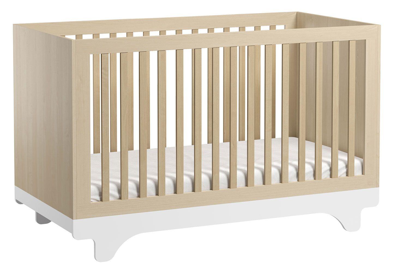 Babybett / Gitterbett Lillebror 01, Farbe: Birke / Weiß - Liegefläche: 70 x 140 cm (B x L)