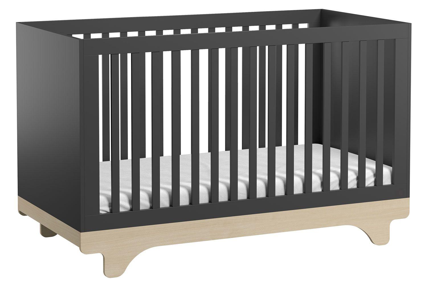 Babybett / Gitterbett Lillebror 01, Farbe: Grau / Birke - Liegefläche: 70 x 140 cm (B x L)