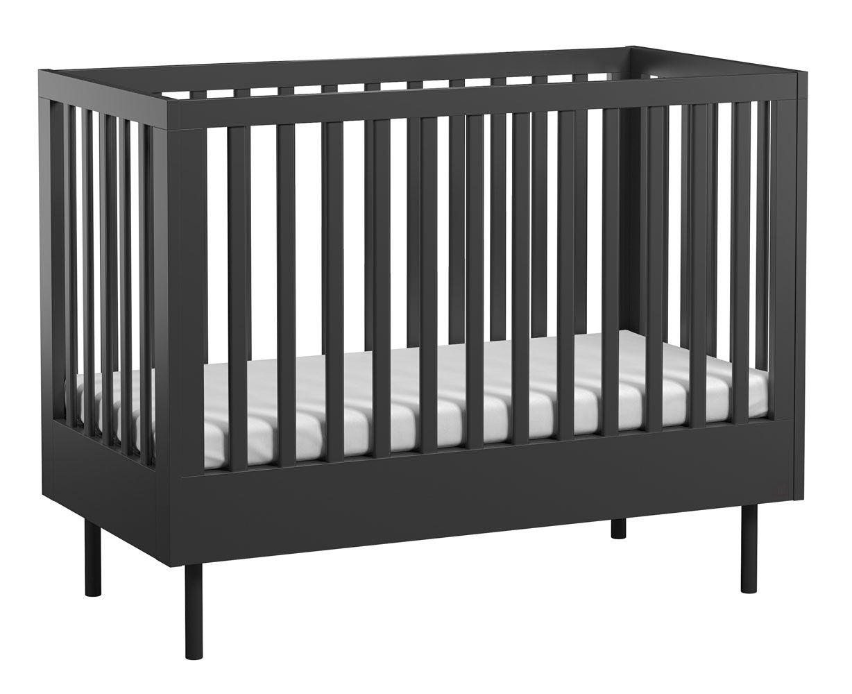 Babybett / Gitterbett Airin 01, Farbe: Schwarz - Liegefläche: 60 x 120 cm (B x L)