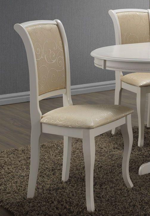 Stuhl Maridi 116, Farbe: Beige / Weiß, teilmassiv - Abmessungen: 94 x 44 x 45 cm (H x B x T)