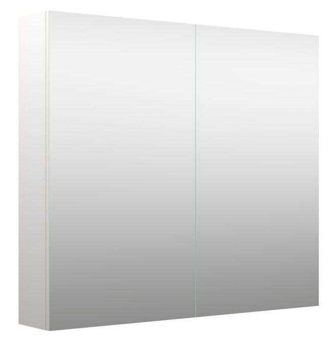 Badezimmer - Spiegelschrank Purina 03, Farbe: Weiß matt – 70 x 80 x 14 cm (H x B x T)
