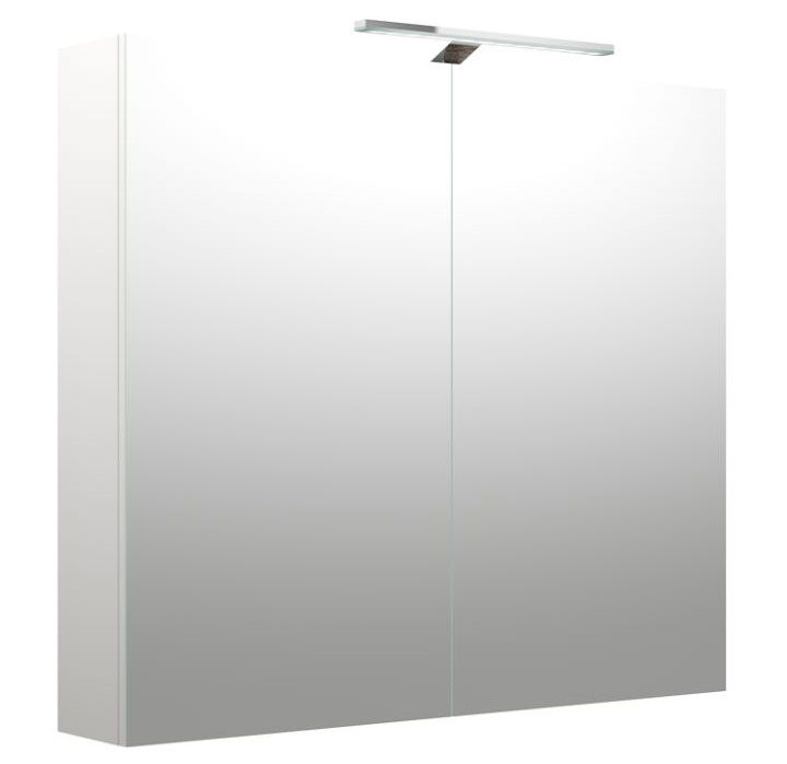 Badezimmer - Spiegelschrank Purina 09, Farbe: Weiß matt – 70 x 80 x 14 cm (H x B x T)