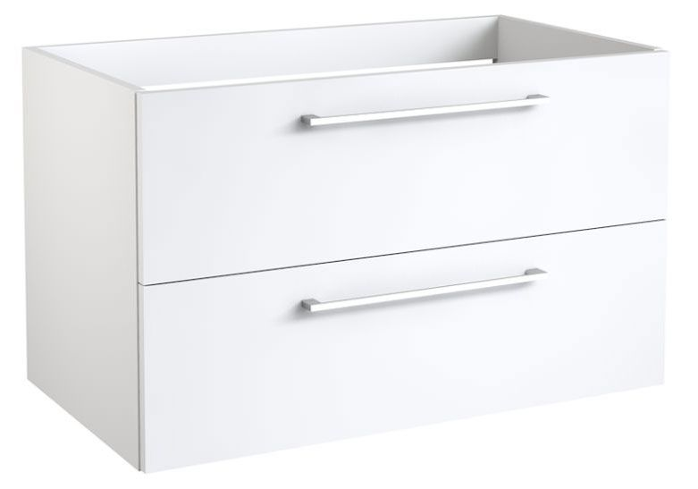 Waschtischunterschrank Rajkot 10 mit Siphonausschnitt, Farbe: Weiß glänzend – 50 x 79 x 45 cm (H x B x T)