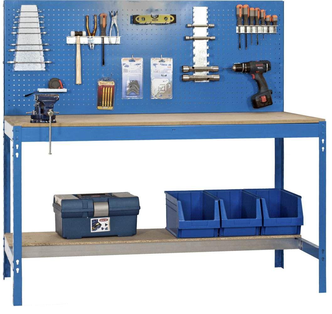 Werkbank BT-2 1500 Blau / Holz, Maße: 144 x 150 x 60 cm (H x B x T), Traglast: 600 kg mit Lochwand