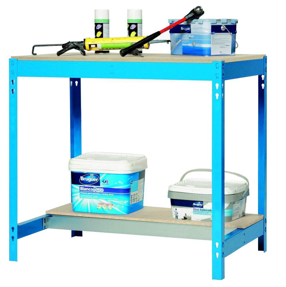 Werkbank BT-0 900 Blau / Holz, Maße: 84 x 90 x 60 cm (H x B x T), Traglast: 400 kg