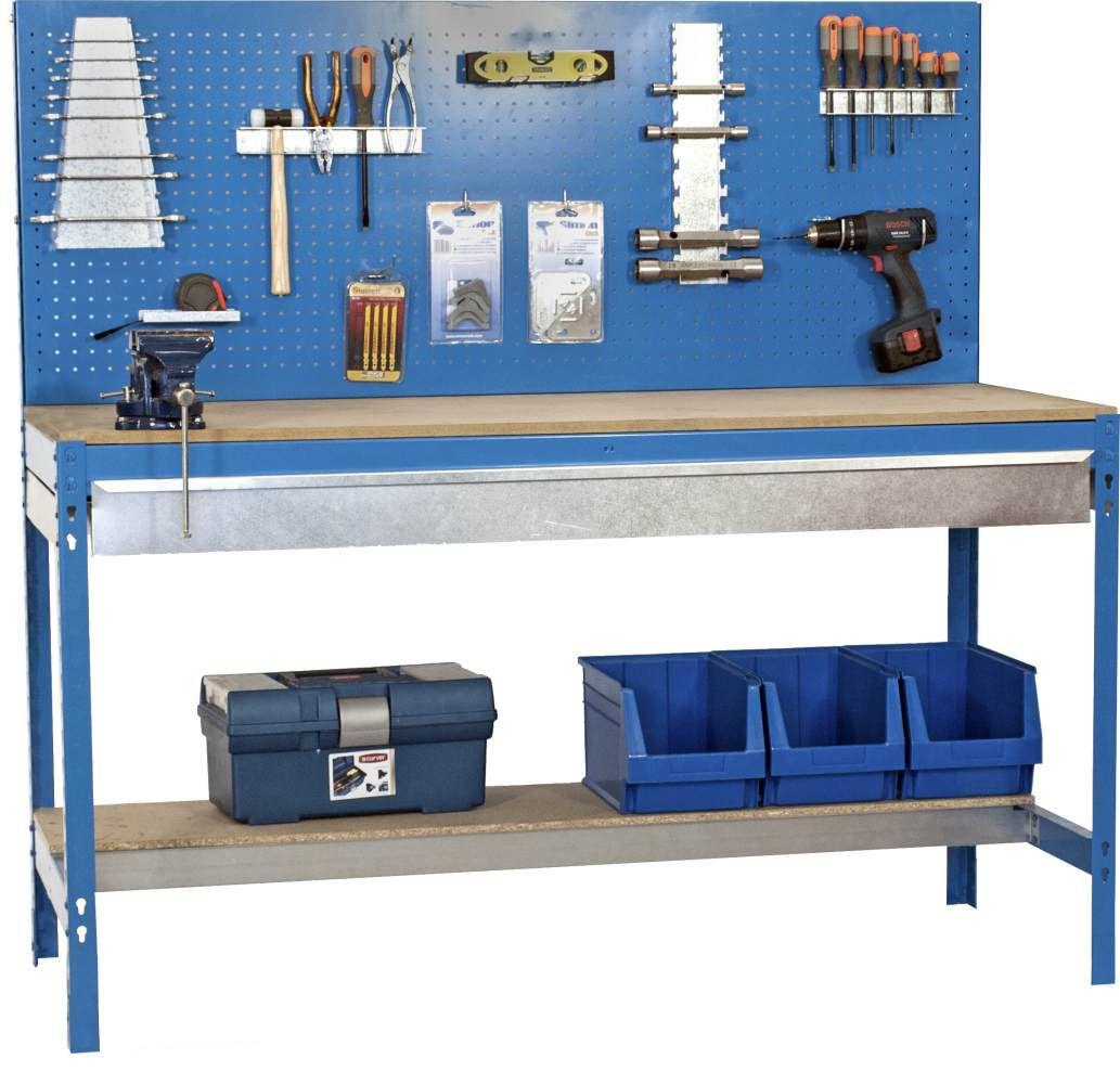 Werkbank BT-2 Box 1200 Blau / Holz, Maße: 144 x 120 x60 cm (H x B x T), Traglast: 600 kg mit Lochwand und verzinkter Schublade