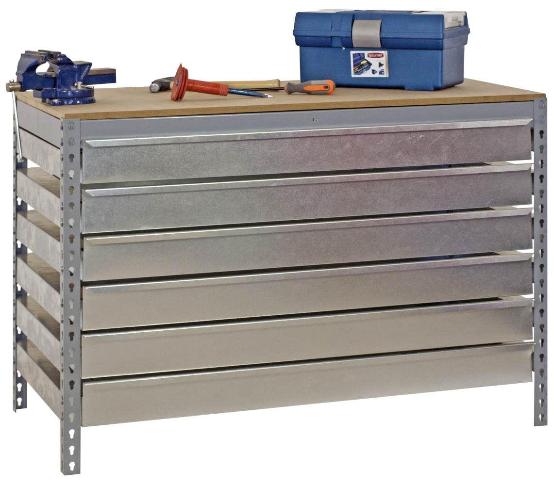 Werkbank BT-5 Box6 900 Grau / Holz, Maße: 84 x 90 x 60 cm (H x B x T), Traglast: 400 kg mit 6 verzinkten Schubladen
