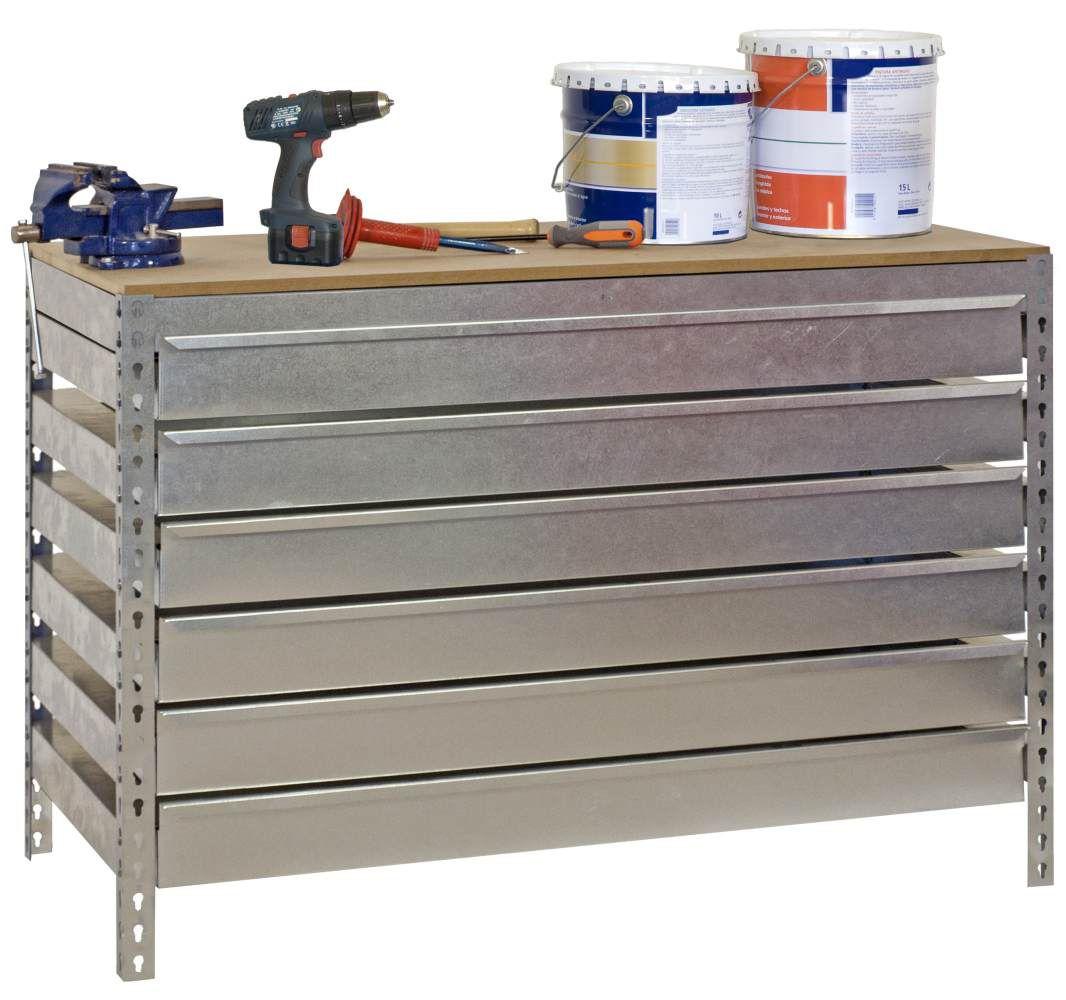 Werkbank BT-5 Box6 900 Verzinkt / Holz, Maße: 84 x 90 x 60 cm (H x B x T), Traglast: 400 kg mit 6 verzinkten Schubladen