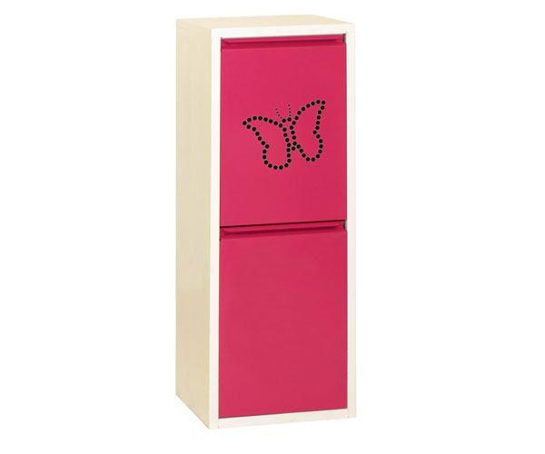 Metallschrank mit 2 Behälter in Weiß/Rosa Schmetterling - Maße: 92 x 33,50 x 25 cm (H x B x T)