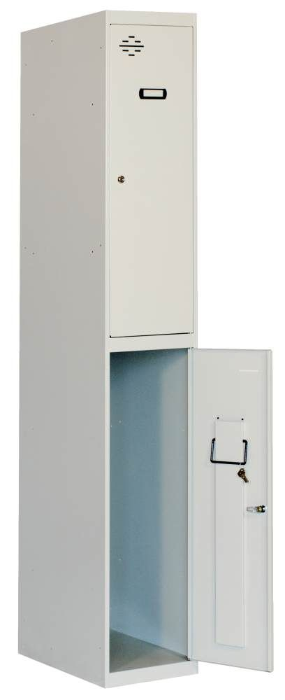 Doppelspind 1 Abteil unmontiert, Farbe: Grau, Maße: 180 x 40 x 50 cm (H x B x T) - Anbaumodul