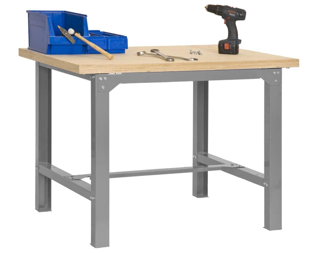 Werkbank BT-6 Plywood, Farbe: Grau / Holz, Maße: 86,50 x 180 x 75 cm (H x B x T), Traglast: 800 kg