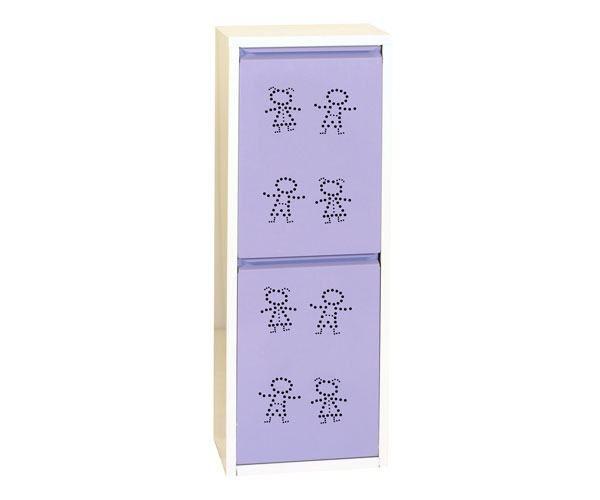 Metallschrank mit 2 Behälter in Weiß/Violett Figuren - Maße: 92 x 33,50 x 25 cm (H x B x T)