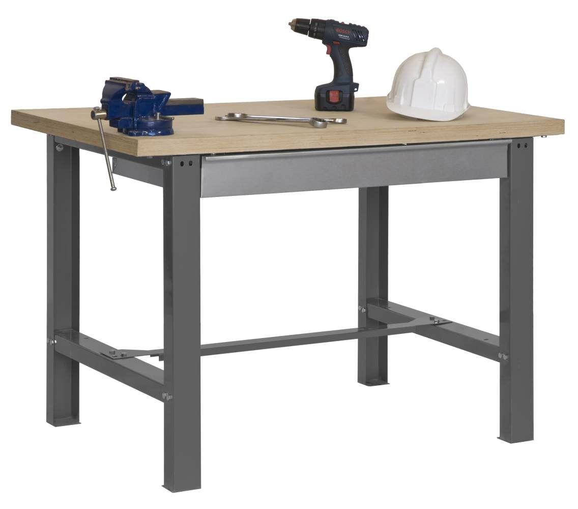 Werkbank BT-6 Box Plywood, Farbe: Grau / Holz, Maße: 86,50 x 120 x 75 cm (H x B x T), Traglast: 800 kg