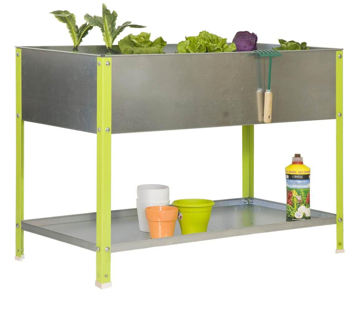 Pflanzbox Hochbeet Urban Garden Top, Farbe: Verzinkt / Grün, Maße: 85 x 120 x 40 cm (H x B x T)