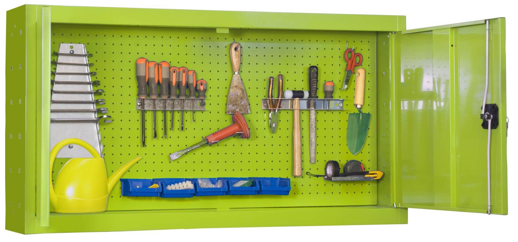Werkzeugschrank Gartenschrank 1200, Maße: 67,50 x 120 x 23 cm (H x B x T), Traglast: 75 kg mit Lochwand