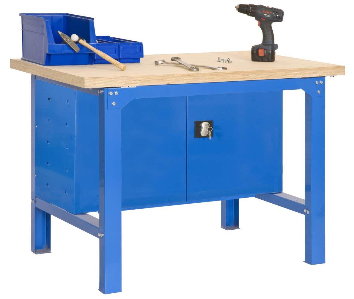 Werkbank BT-6 Plywood Locker 1500, Farbe: Blau / Holz, Maße: 86,50 x 150 x 75 cm (H x B x T), Traglast: 800 kg
