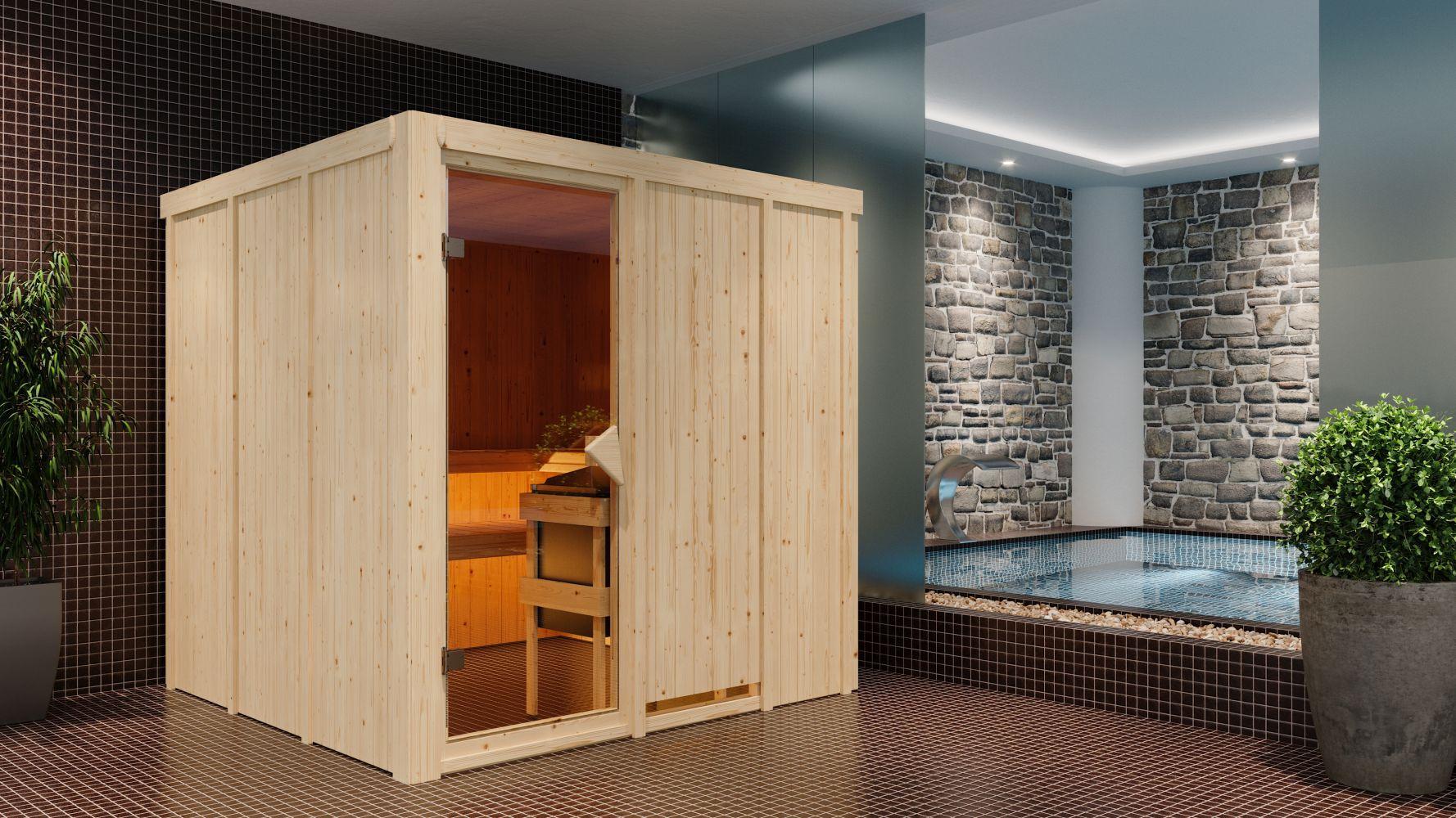 Sauna Greta 03, 68 mm Wandstärke - 196 x 196 x 198 cm (B x T x H) - Ausführung:inkl. Bio-Ofen mit externer Steuerung