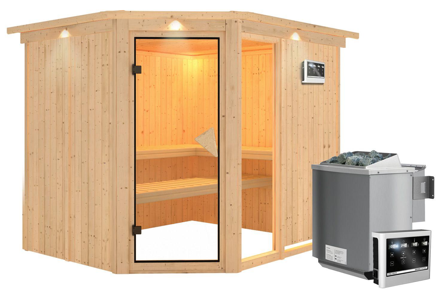 Sauna Francesca 06, 68 mm Wandstärke - 245 x 210 x 202 cm (B x T x H) - Ausführung:inkl. Bio-Ofen mit externer Steuerung