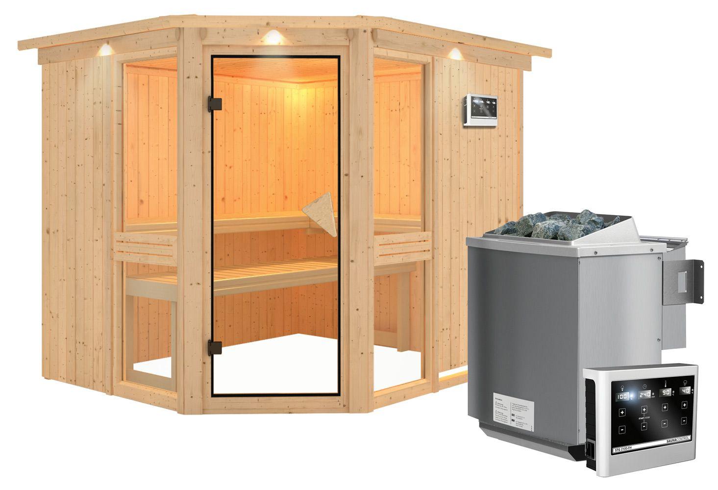 Sauna Alessia 04, 68 mm Wandstärke - 245 x 210 x 202 cm (B x T x H) - Ausführung:inkl. Bio-Ofen mit externer Steuerung