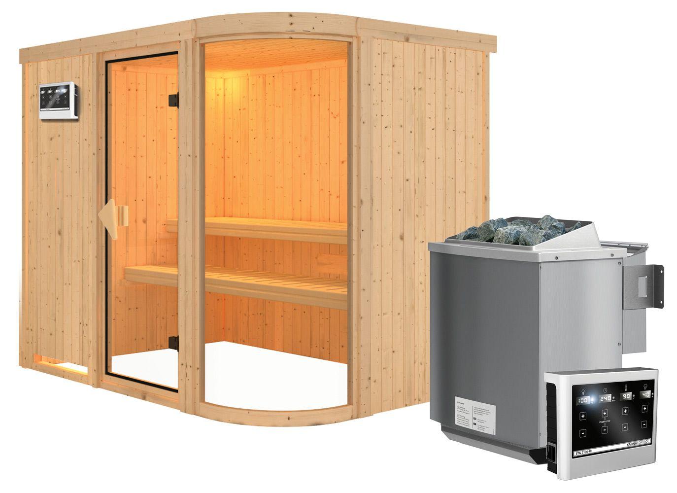 Sauna Vittoria 02, 68 mm Wandstärke - 231 x 170 x 198 cm (B x T x H) - Ausführung:inkl. Bio-Ofen mit externer Steuerung