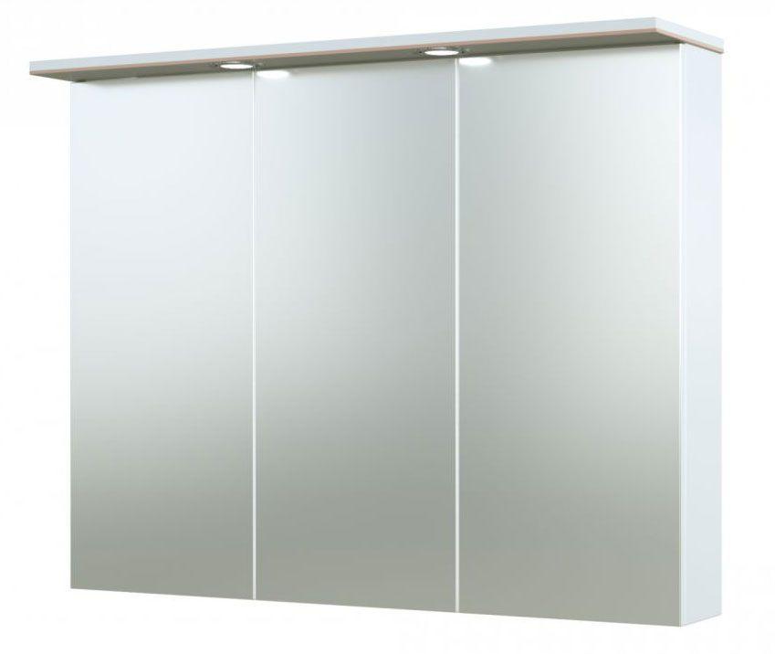 Bad - Spiegelschrank Bijapur 11, Farbe: Beige glänzend – 73 x 91 x 14 cm (H x B x T)