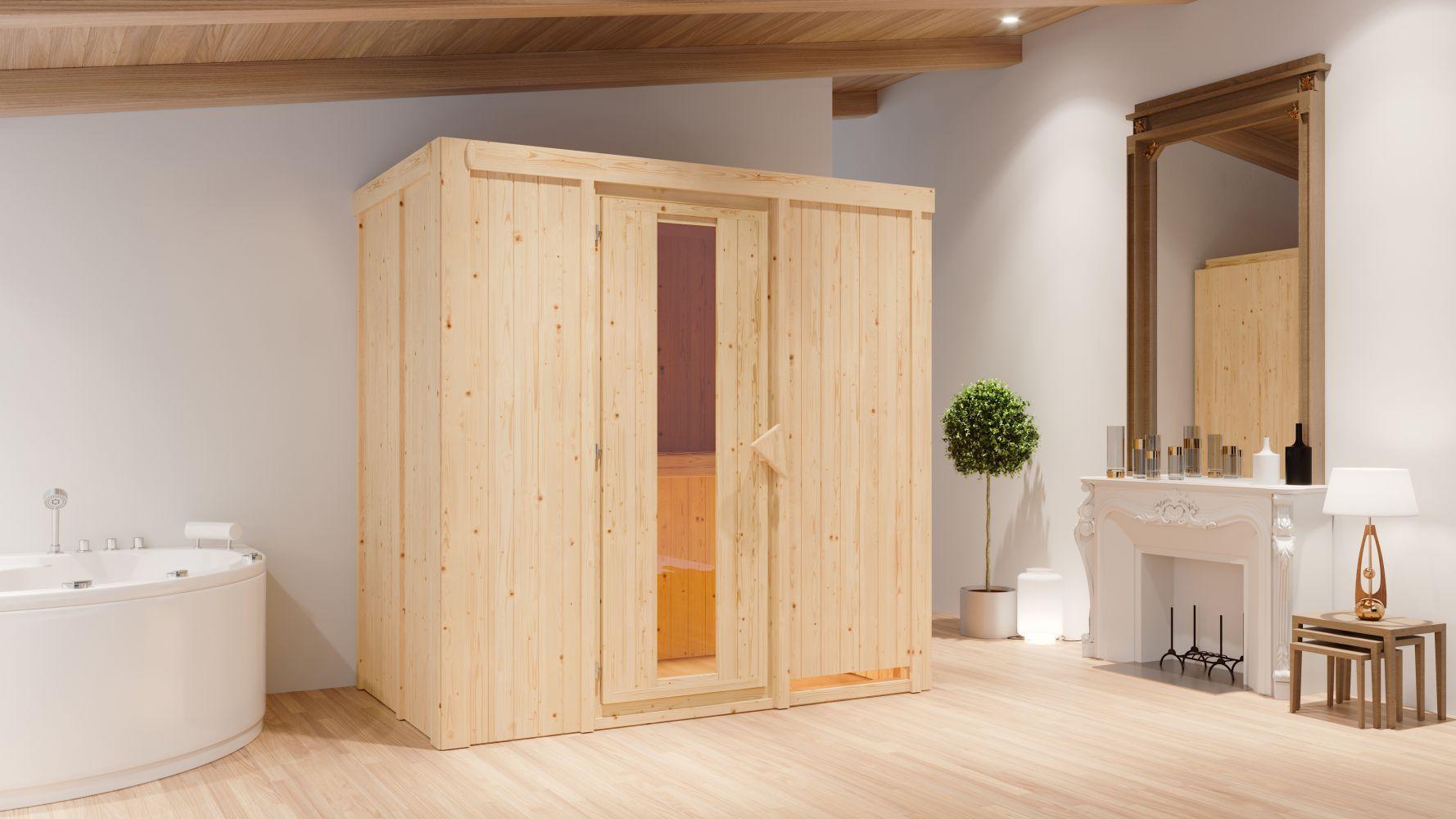 Sauna Giulia 01, 68 mm Wandstärke - 196 x 118 x 198 cm (B x T x H) - Ausführung:inkl. Bio-Ofen mit externer Steuerung
