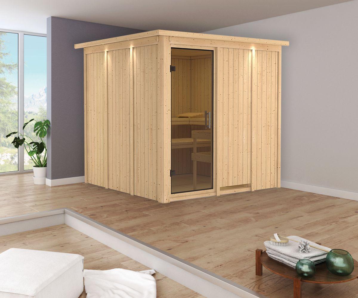 Sauna Greta 06, 68 mm Wandstärke - 210 x 210 x 202 cm (B x T x H)