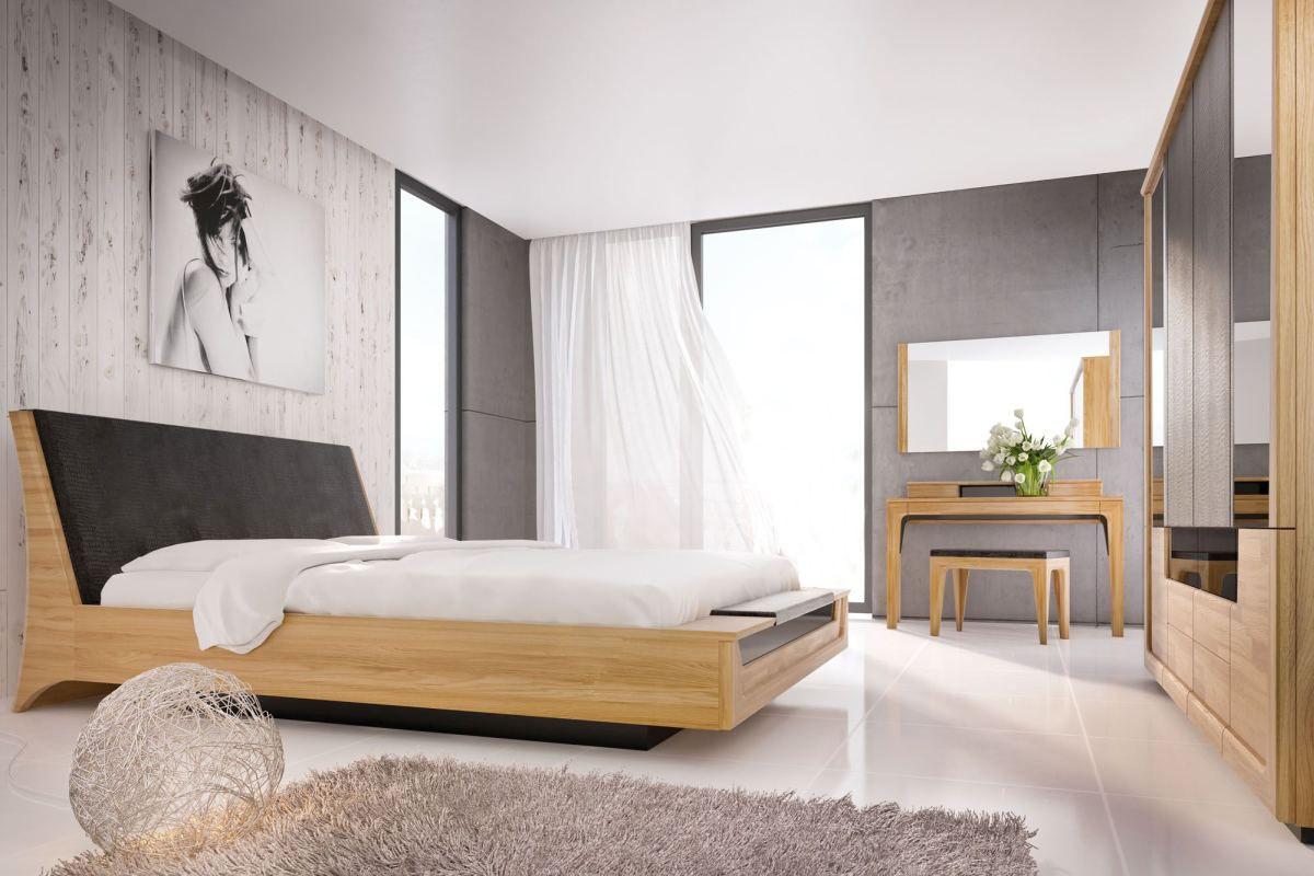 Schlafzimmer Komplett - Set N Topusko, 6-teilig, teilmassiv, Farbe: Eiche / Schwarz