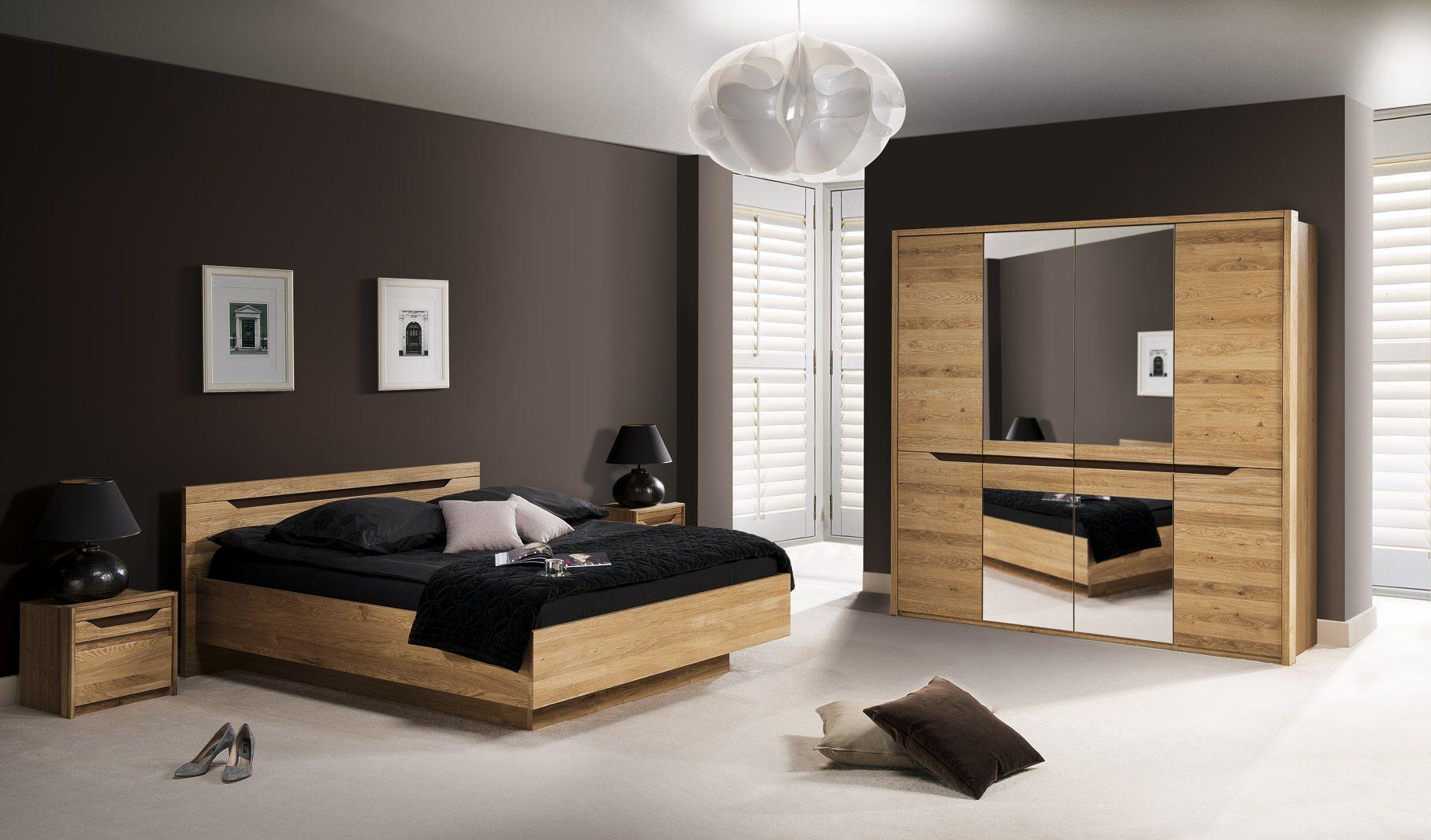 Schlafzimmer Komplett - Set A Kyme, 4-teilig, teilmassiv, Farbe: Wildeiche natur