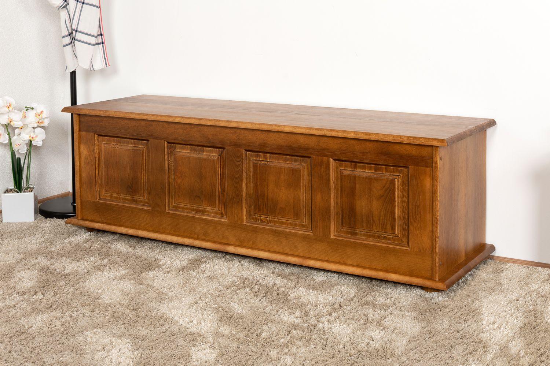Sitzbank mit Stauraum Kiefer massiv Vollholz Eichefarben Rustikal 179 – Abmessungen: 50 x 154 x 46 cm (H x B x T)