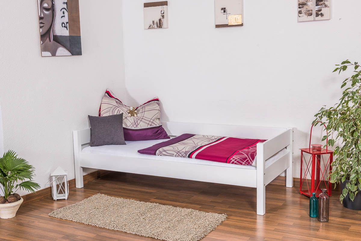 Einzelbett / Gästebett Benedikt Buche Vollholz massiv weiß lackiert, inkl. Rollrost - 90 x 200 cm
