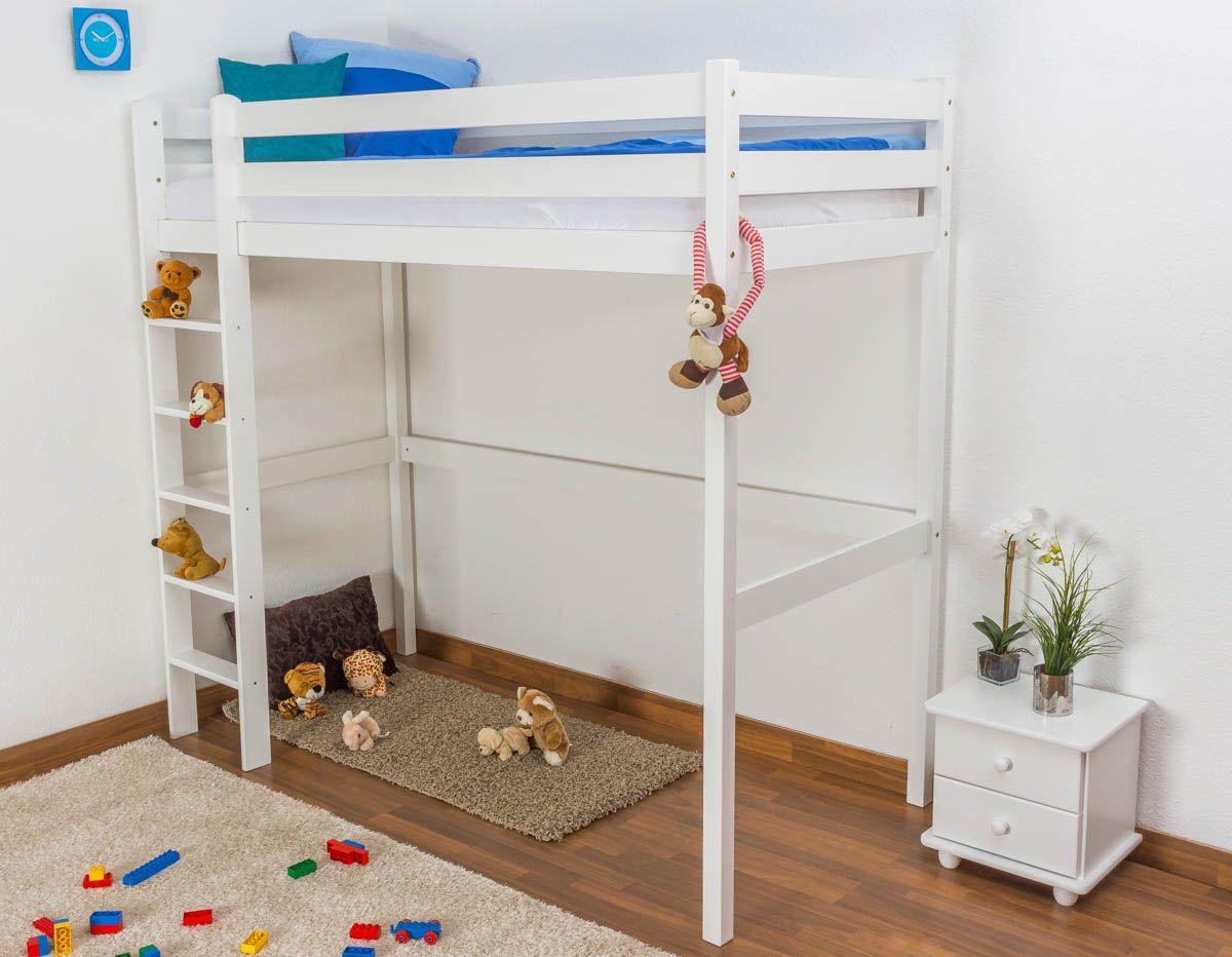Kinderbett / Hochbett Kiefer massiv Vollholz weiß lackiert 120 – Abmessung 90 x 200 cm