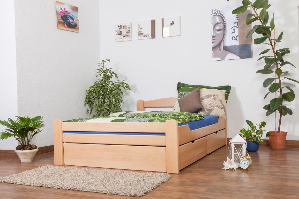 """Jugendbett """"Easy Premium Line"""" K4, inkl. 2 Schubladen und 1 Abdeckblende, 140 x 200 cm Buche Vollholz massiv Natur"""