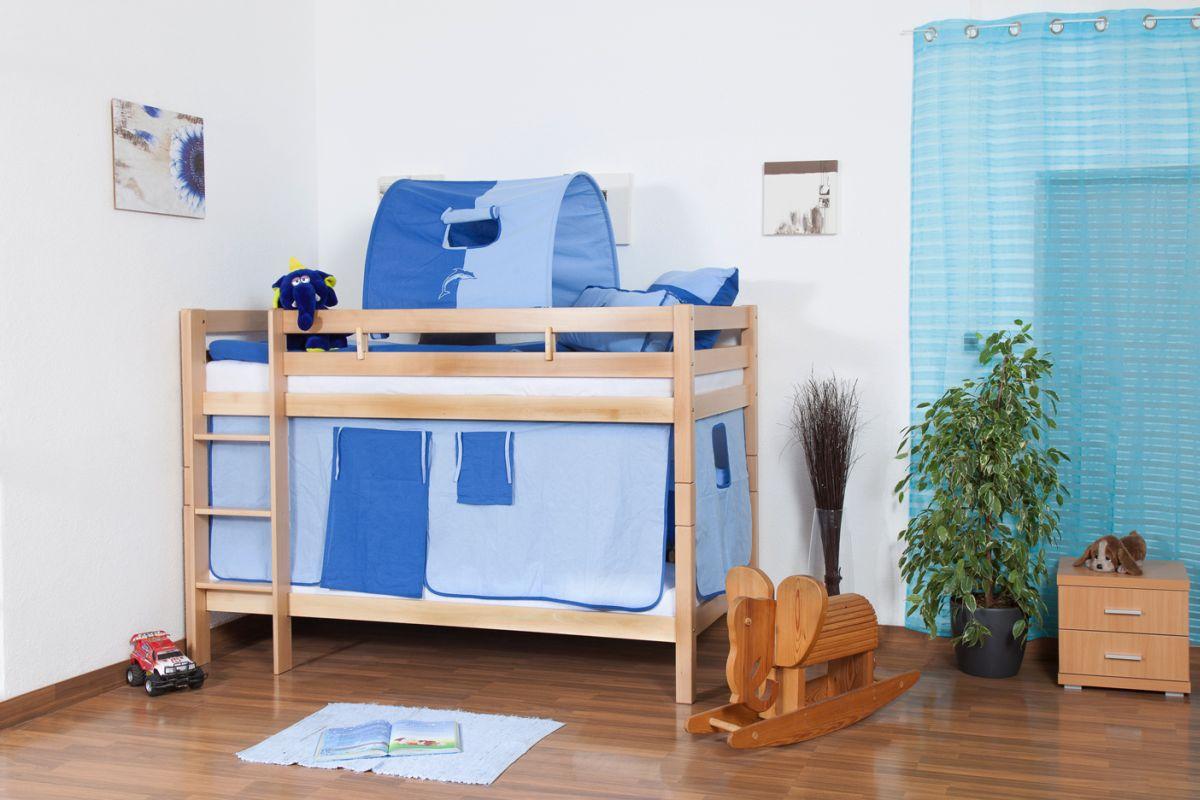 Kinderbett Etagenbett Felix inkl. Rollrost - Material: Buche massiv natur,  Farbe: klar lackiert, teilbar
