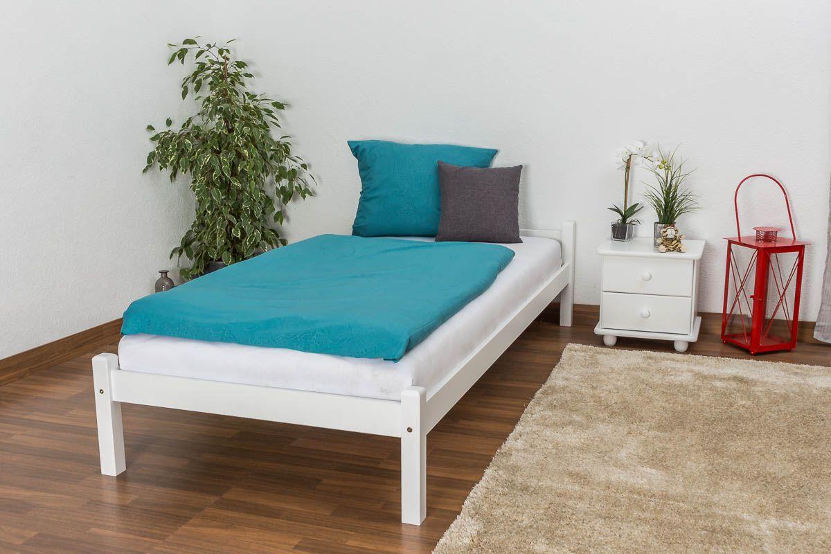 Einzelbett / Gästebett massives Kiefernholz, inklusive Lattenrost weiß lackiert, Maße: 90 x 200 cm
