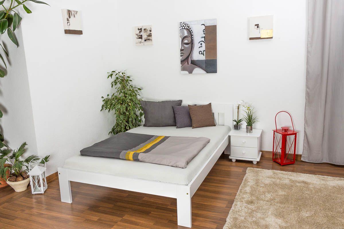 Einzelbett / Gästebett Kiefer massiv Vollholz weiß lackiert 75, inkl. Lattenrost - Abmessung 140 x 200 cm