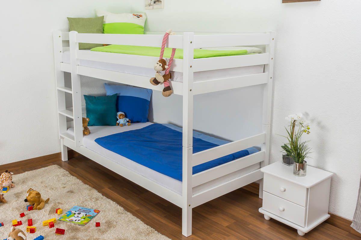 Kinderbett / Etagenbett Kiefer massiv Vollholz weiß lackiert 121 – Abmessung 90 x 200 cm, teilbar