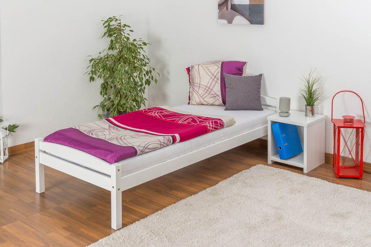 Einzelbett / Gästebett Kiefer massiv Vollholz weiß lackiert 99, inkl. Lattenrost - Abmessung 90 x 200 cm