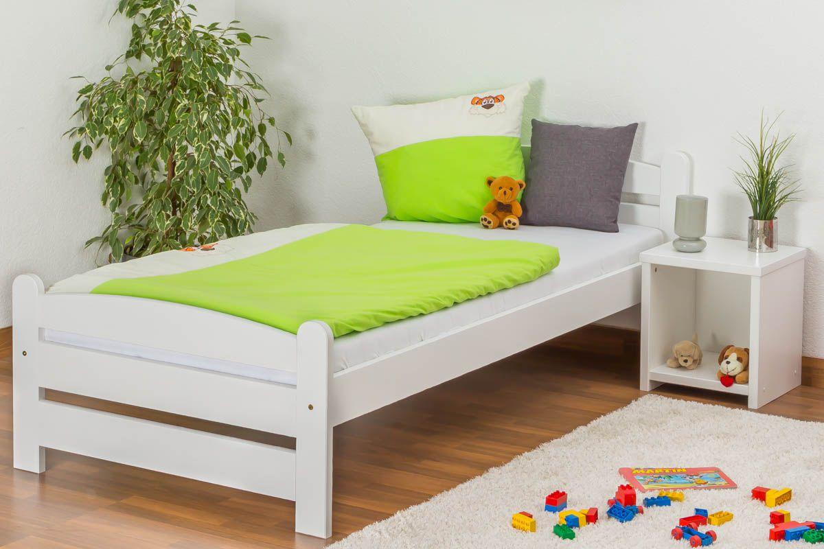Kinderbett / Jugendbett Kiefer massiv Vollholz weiß lackiert 84, inkl. Lattenrost - Abmessung 90 x 200 cm