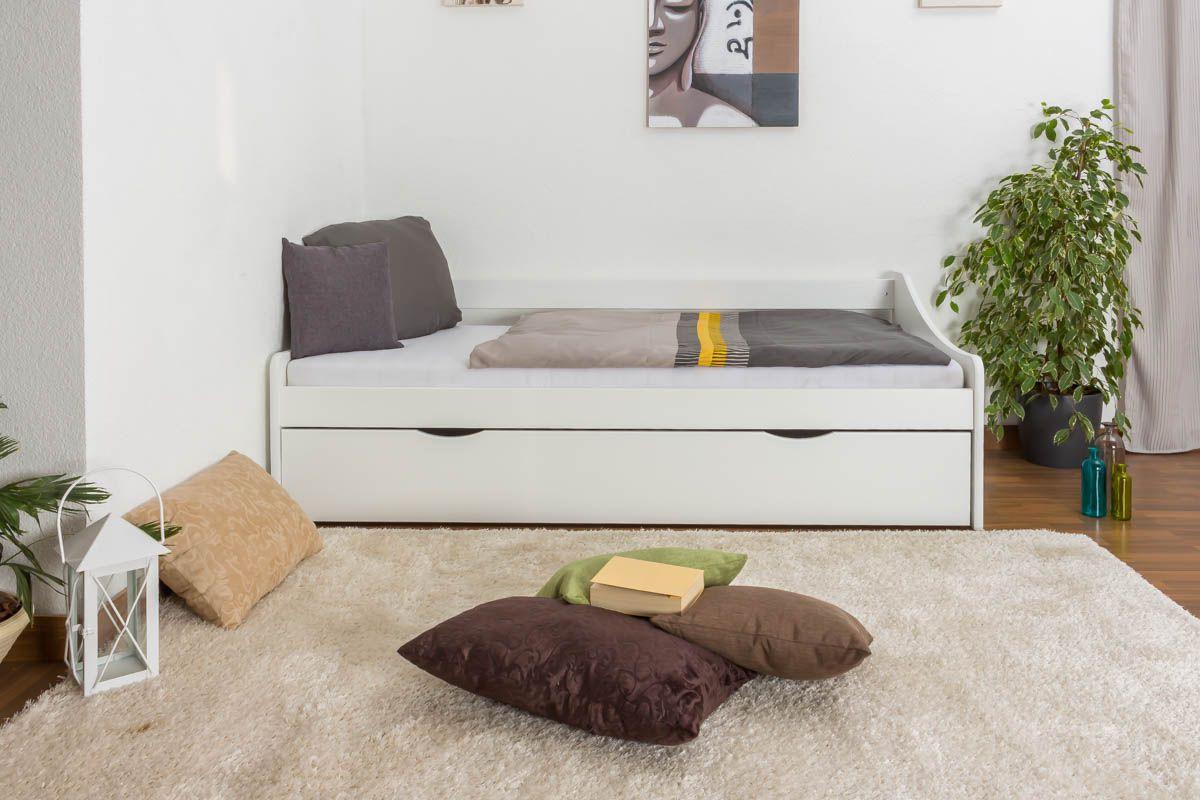 Einzelbett / Funktionsbett Kiefer massiv Vollholz weiß lackiert 93, inkl. Lattenrost - Abmessung 90 x 200 cm